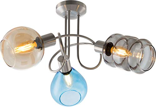 Deckenleuchte 3flg PESARO Nickel matt für 3xE14,max.40W, D:40cm,H:35cm unterschiedl.Gläser+Farben