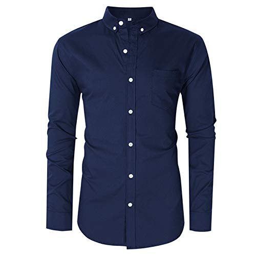 Men's Shirts Simple Formal Business Office Long-Sleeved Shirts Pure Color Plus Size Casual Cotton Shirts XXL Dark Blue