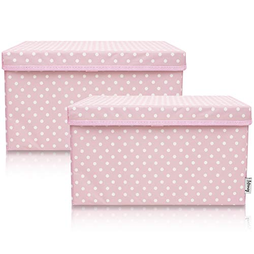 Lifeney 2-Set Aufbewahrungsbox Kinder (37x25x21cm) I Aufbewahrungskorb für Kinderzimmer und Wohnbereich I Kinder Aufbewahrungskiste (Rosa Punkte)