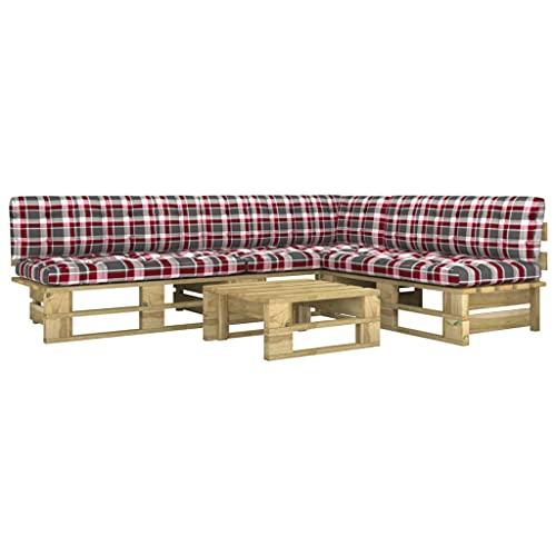 vidaXL Madera Pino Impregnada Muebles de Palets 4 Piezas y Cojines Mobiliario Exterior Hogar Cocina Mesa Asiento Silla Terraza Suave Respaldo Verde