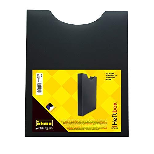 Idena 225163 - Heftbox, für DIN A4, Hochformat, aus PP, Füllhöhe 4 cm, transluzent schwarz, 1 Stück
