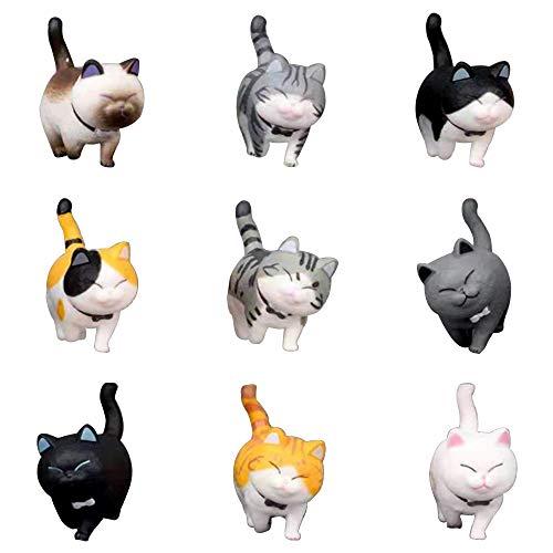 Lechin 動物フィギュア 猫 模型 9個 可愛い 子猫 セット ネコ ミニ モデル パーティー 部屋 飾り 車の置物 誕生日 プレゼント (グループB)