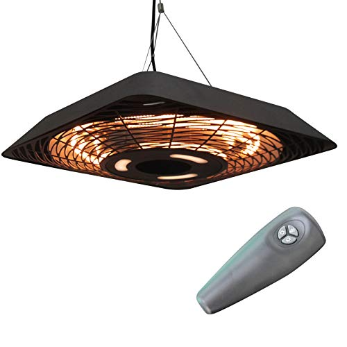 Outsunny 2000W Electric Hanging Patio Heater Ceiling Mounted Halogen Heating Indoor Outdoor with Remote Control Aluminium
