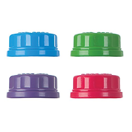 Lifefactory Colored Caps für Glas-Babyflaschen 120 & 250ml, Flat, 4 Farben