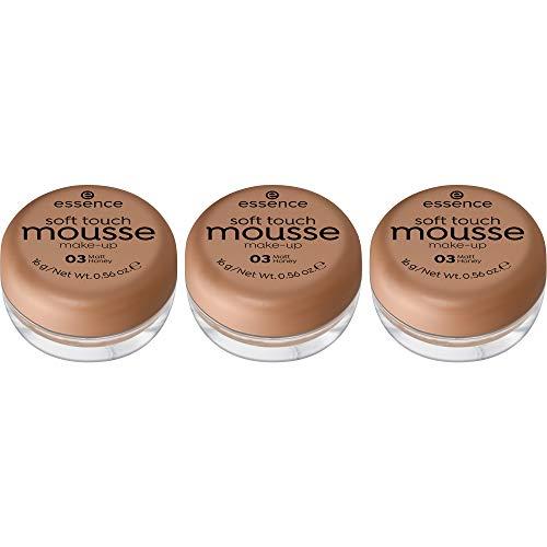 essence soft touch mousse make-up, Make Up, Foundation, Nr. 03 matt honey, nude, für Mischhaut, für unreine Haut, mattierend, matt, vegan, ohne Parfüm, ohne Alkohol, 3er Pack (3 x 16g)