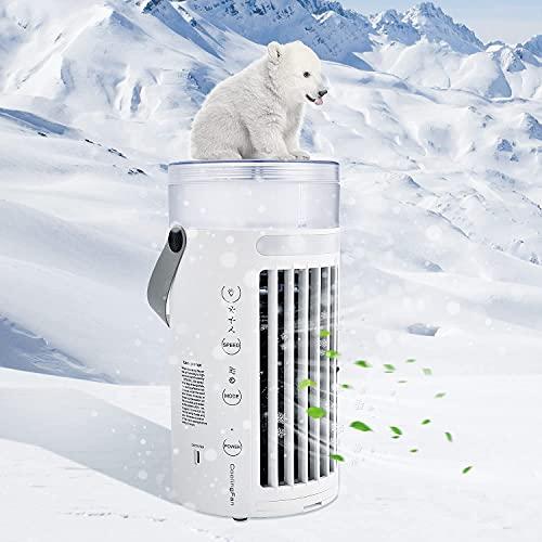 Enfriador de aire portátil refrigerado por agua, mini ventilador de aire acondicionado personal 4 en 1 a prueba de fugas, humidificador con USB para el hogar, la oficina, el dormitorio,White
