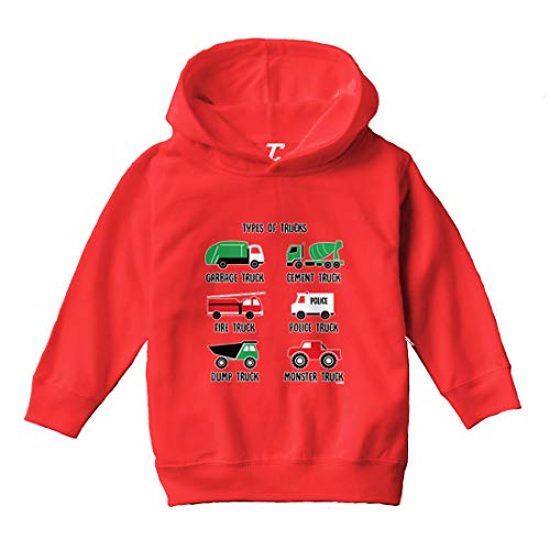 Types of Trucks - Garbage Monster Fire Toddler/Youth Fleece Hoodie (Red, 4T (Toddler))