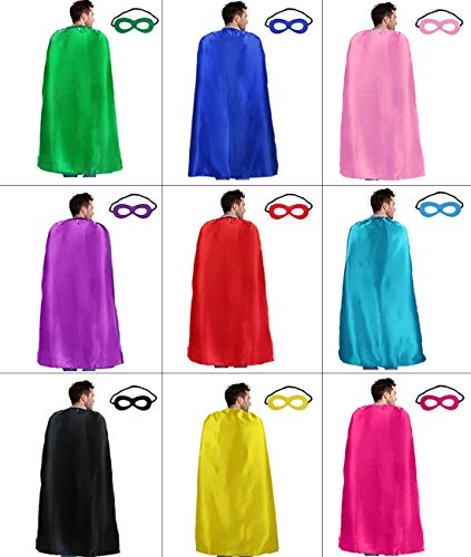 D.Q.Z Superhero-Capes for Adults Bulk with Masks, Super Hero Dress Up Costumes for Men Women Role Play Party Favors,10 Pack