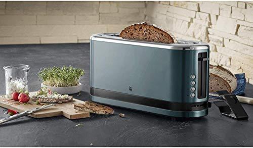 WMF – Küchenminis – Grille-pain à longues fentes – Avec réchauffe-viennoiseries intégré bleu métallique