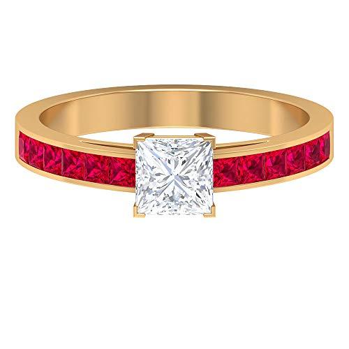 Anillo de compromiso vintage, HI-SI 0,7 quilates solitario anillo de diamante, anillo de rubí de corte princesa de 1/2 quilates, anillo de piedra lateral, 14K Oro amarillo, Size:EU 62