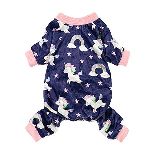 Fitwarm Fairy Unicorn Dog Pajamas Pet Clothes Jumpsuit PJS Apparel Soft Velvet Purple XS