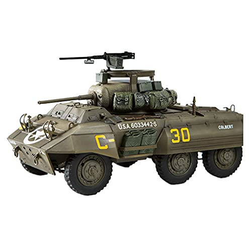 T-Toy Military Vehicle Puzzle Plastic Model Kits, 1/35 Scale USA M8 Grey Hound Armored Car Model, Toys and Gift, 4.8 X 2.4Inch