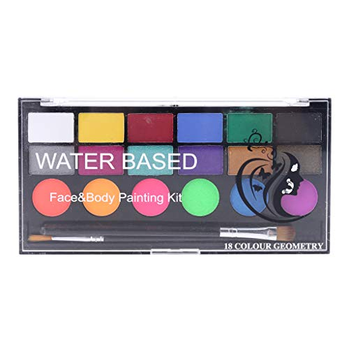 VVXXMO Juego de pintura corporal facial de 18 colores, no tóxico, seguro, pintura soluble en agua, con pincel, suministros de decoración de fiesta de Navidad
