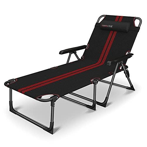縦断勾配 Gartenstuhl Klappbar Balkon Klappliegestuhl Klappbarer Liegestuhl Siesta Nap Klappbett Single Lounge Chair Tragbares Haushalts-Strandbett Chaperone Camp Bed Load.(Color:Black)