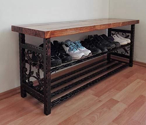 *Vintage Schuhregal Schuhbank Schuhschrank Organizer handgefertigte Flur Möbel Schuhablage Sitzbank Schuhtruhe (Länge 40-150 cm)*
