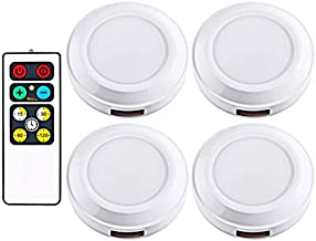 DEWENWILS LED Wireless Puck Light, Remote Control, Battery Operated Nightlight, Stick on Anywhere, for Under Cabinet, Counter, Pantry, Warm White, 4 Pack, Round