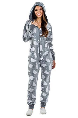 Women's Polar Bear Cozy Jumpsuit - Funny Polar Bear Cozy Christmas Onesie: S