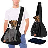 Dog Sling Carrier for Medium Dogs 10 Pounds up to 20 Lbs, Pet Carry Bag Pack with Hard Bottom Board Adjustable Strap Small Pockets Pouch, Puppy Holder Hiking Backpack, Large Cat Mesh Purse, Black