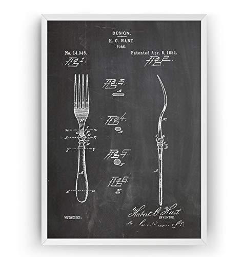 Gabel 1884 Patent Poster - Fork Jahrgang Drucke Drucken Bild Kunst Geschenke Zum Männer Frau Entwurf Dekor Vintage Art Blueprint Decor - Rahmen Nicht Enthalten