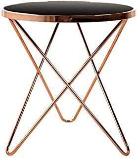 Side Table End Tables Tempered Glass Small Round Coffee Table Wrought Iron Tea Table, Living Room end Table, Snack & Coffee Table,Home Sofa Bed Side Table Furniture