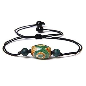 HUIZHANG Retro natürliche Dzi Armbänder Charme Schwarze Seil Armbänder