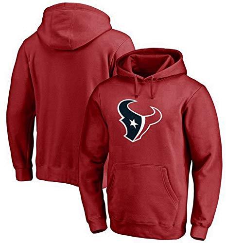 XHDH Sudadera con Capucha de la NFL - Houston Texans Jersey Pullover Rugby Manga Larga impresión de la Camisa con Capucha cómoda Ocasional Grueso suéter para el Ocio y la Aptitud,Rojo,XXL