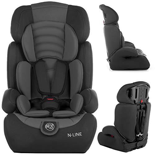 Kindersafety Kindersitz, Autositz, Kindersitz, Gruppe 1/2/3 9-36kg, 3-Punkt-Sicherheitsgurte, verstellbare Kopfstütze, ECE R44/04, N-Line, Modell KP0101BLK