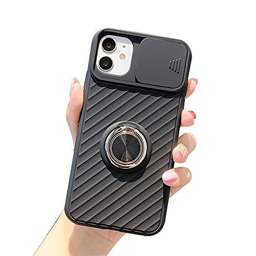Funda con Tapa Deslizable para Cámara Compatible con iPhone 12/12 Mini/12 Pro MAX Carcasa de Silicona TPU Antideslizante Anti Arañazos Back Cover,Negro,X/XS