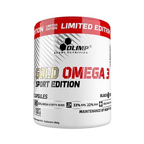 Olimp Gold Omega 3 Sport Edition, Limited Edition - 200 Kapseln - Nahrungsergänzungsmittel mit Fettsäuren und Vitamin E