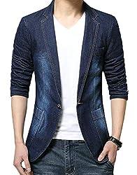 jiejiegao Men Slim Fit Casual One Button Suit Coat Business Jackets Jean Blazers