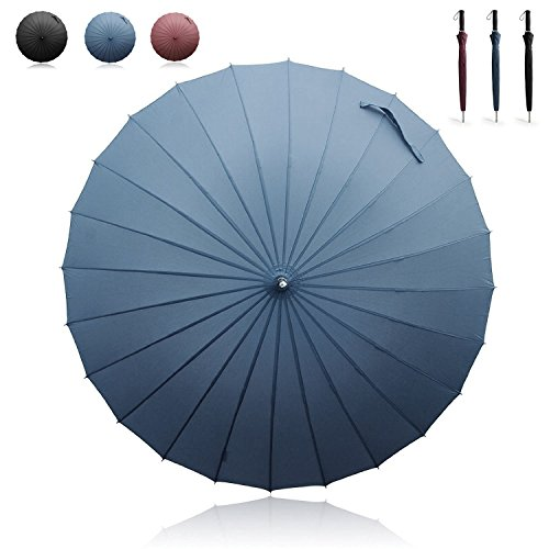 Becko - Ombrello con apertura / chiusura manuale, gambo dritto, 24 raggi, antivento e impermeabile, da golf / viaggio, colore: nero, Blue