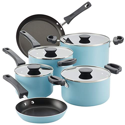 Farberware Neat Nest Space Saving Nonstick Cookware Pots and Pans Set/Dishwasher Safe, Made in The USA, 10 Piece, Aqua