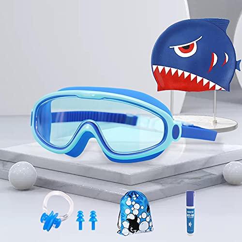 Gafas de natación de seis piezas para niños de gran marco pueden ser impermeables y antivaho HD en caja gafas para niños y niñas. Traje transparente de seis piezas azul lago