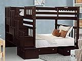 Bedz King BK161-Dark-Cherry-Drawers Bunk Bed, Twin over Twin, Dark Cherry