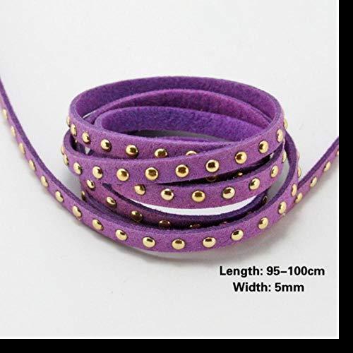 LLAAIT Neuheit 5mm Kunstleder Kunstleder Schnüre Gold Stud Perlenschnur für Schmuck Herstellung DIY Armbänder Halskette Kleid Accessoires, Hellviolett