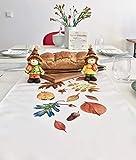 khevga Tischläufer Herbst Herbst-Deko Tischdeko Blätter Weiß Bedruckt 40x140 cm (Orange) - 4