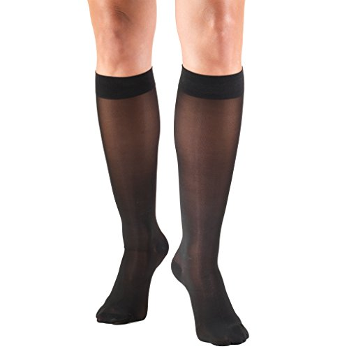 Truform Sheer Compression Stockings, 20-30 mmHg, Womens Thigh High Length, 30 Denier, Black, Medium