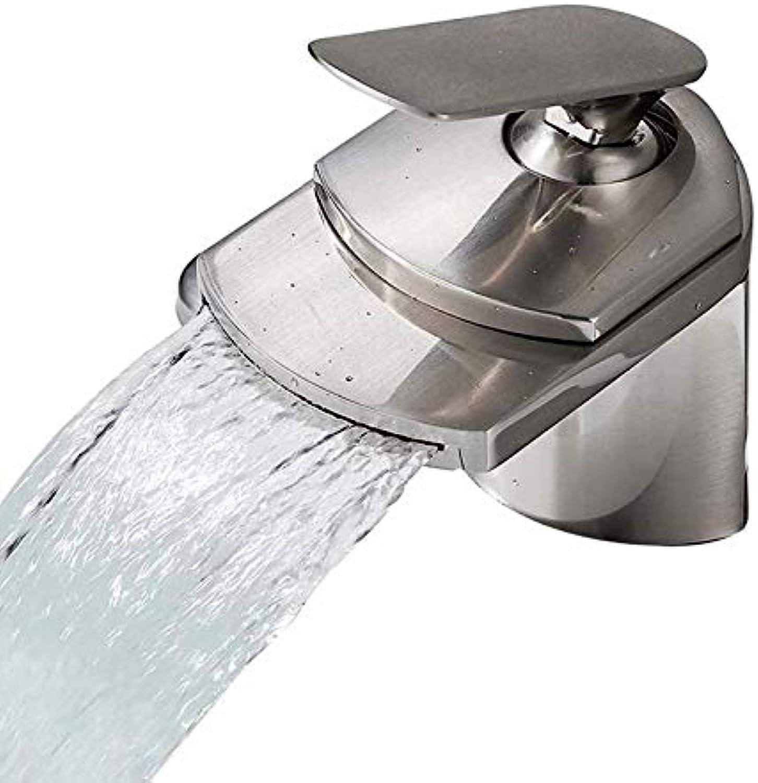 Wasserhahn Nickel Gebürstet Waschbecken Wasserhahn Deck Mount Wasserfall Heies Und Kaltes Wasser Bad Mischbatterien Einlochmontage Waschwasserhahn