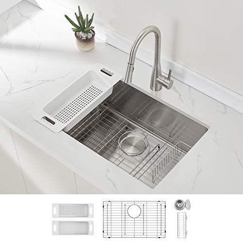 Modena Undermount Kitchen Sink Set, 16-Gauge Stainless Steel...