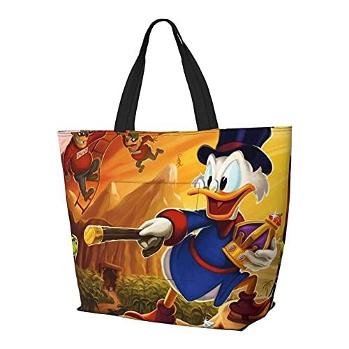 Dibujos animados Donald Duck Multifuncional plegable y reutilizable de gran capacidad con cremallera para las mujeres, bolso de la compra, bolsa de gimnasio, bolsa de viaje, bolsa de ordenador