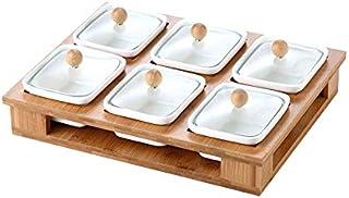 WZHZJ Récipient de service de bonbons et de noix, plateau à apéritifs avec couvercle, organisateur de déjeuner à 6 compart...