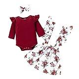 Kleinkind Baby Mädchen Outfits 3pcs Babykleidung Set Kleines Mädchen Rüschen Rib Langarm...