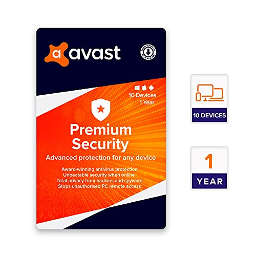 Avast Premium Security Multi-Device (PC, Mac, Android and iOS) (10 Devices   1 Year) (Email Delivery in 2 hours- No CD)