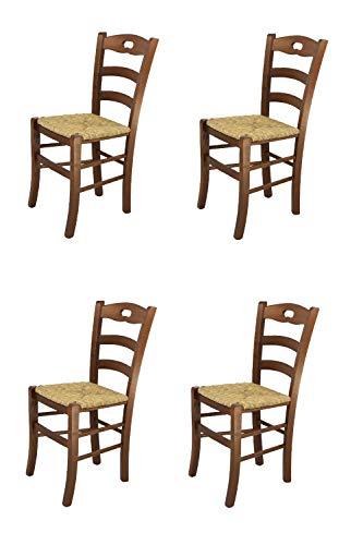Tommychairs - Set 4 sedie Modello Savoie per Cucina e Sala da Pranzo, Robusta Struttura in Legno Color Noce e Seduta in Paglia
