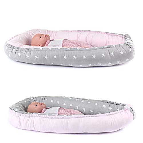 Multifunktionale Kuschelnest für Säuglinge, Kokon, Reisebett, 100% Baumwolle, antiallergisch, Rosa/Sterne