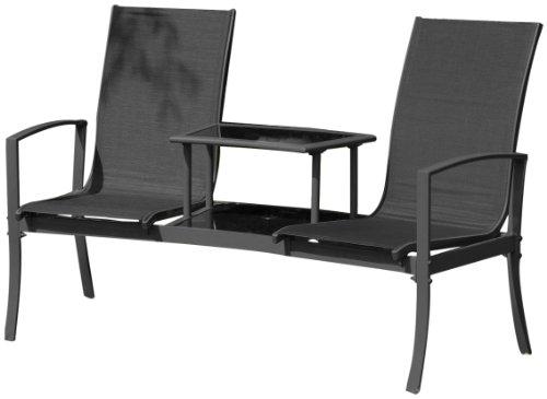 Suntime 2-Seater Havana Companion Duo Seat with coffee Table - Black