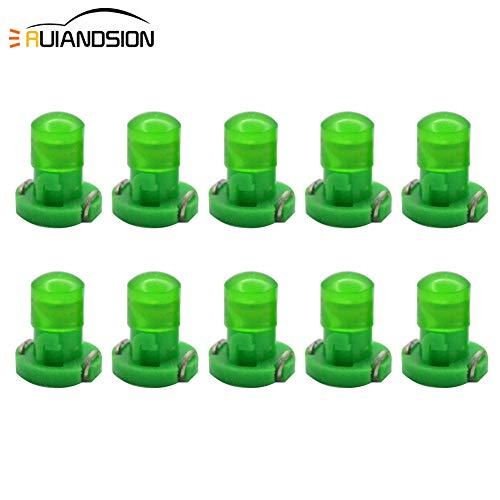 Ruiandsion 10 bombillas LED T3 con base de 8 mm, chips COB LED para salpicadero de coche, instrumentos de lectura, panel de luces, color verde