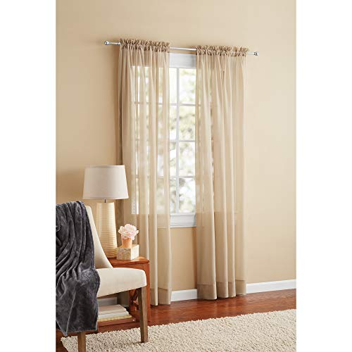 """Mainstay Marjorie Sheer Voile Curtain Panel, 59""""x63"""" Brown"""