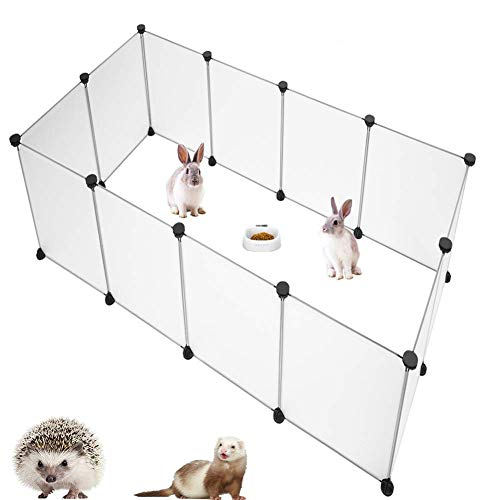 PINVNBY Pet Playpen Portable Resin Pet Yard Fence Puppy Crate Kennel for Dog Cat Kitten Rabbit Guinea Pig Bunny Hedgehogs, Outdoor & Indoor,12 Panels,13.8 x 17.7 inches