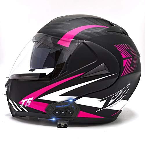 JJIIEE DOT/ECE-Motorrad-Bluetooth-Helme, modulare, hochklappbare Doppelvisier-Integralhelme mit Entlüftung, abnehmbares Reinigungsfutter für Erwachsene Männer und Frauen,D,M